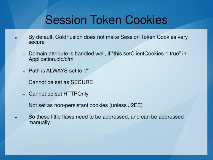Session Token Cookies