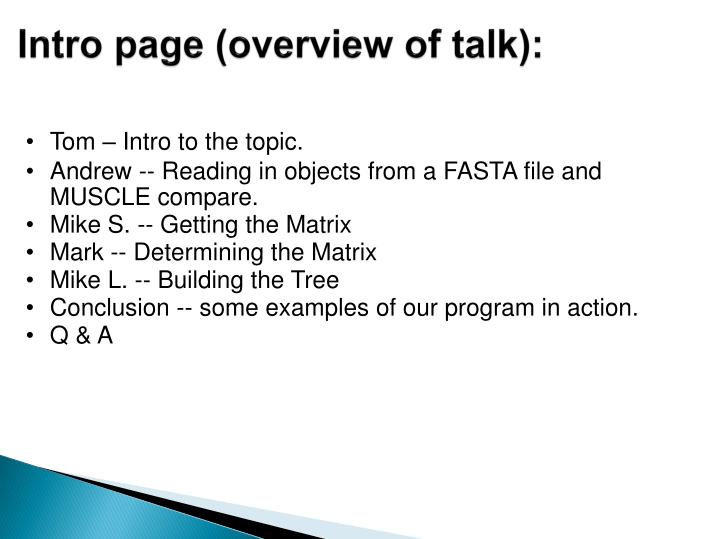 Intro page (overview of talk):