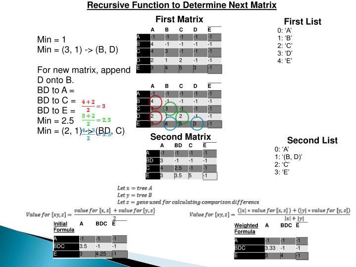 Recursive Function to Determine Next Matrix