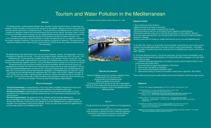 Tourism and water pollution in the mediterranean