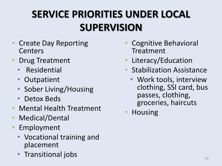 SERVICE PRIORITIES UNDER LOCAL SUPERVISION