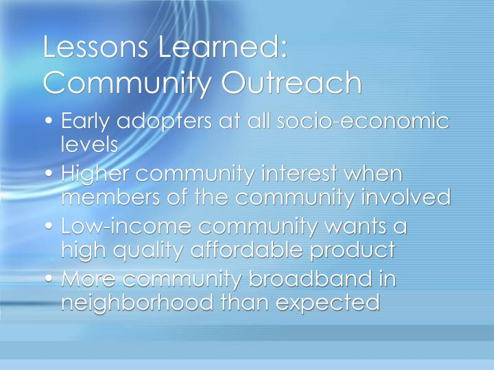 Lessons Learned: Community Outreach