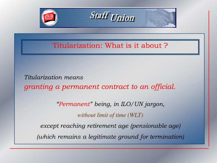 Titularization: What is it about ?