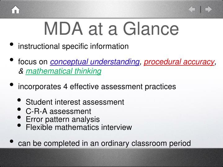 MDA at a Glance