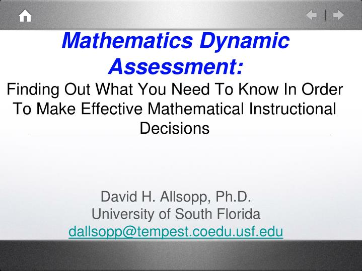 Mathematics Dynamic Assessment: