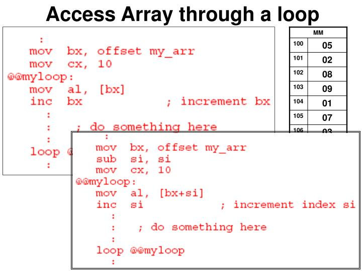 Access Array through a loop