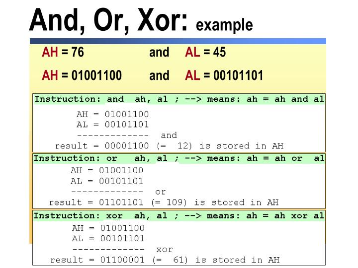 And, Or, Xor: