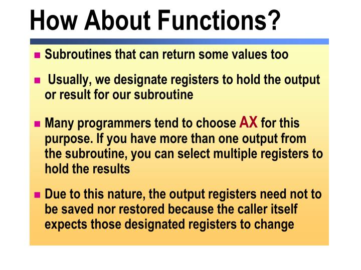 How About Functions?