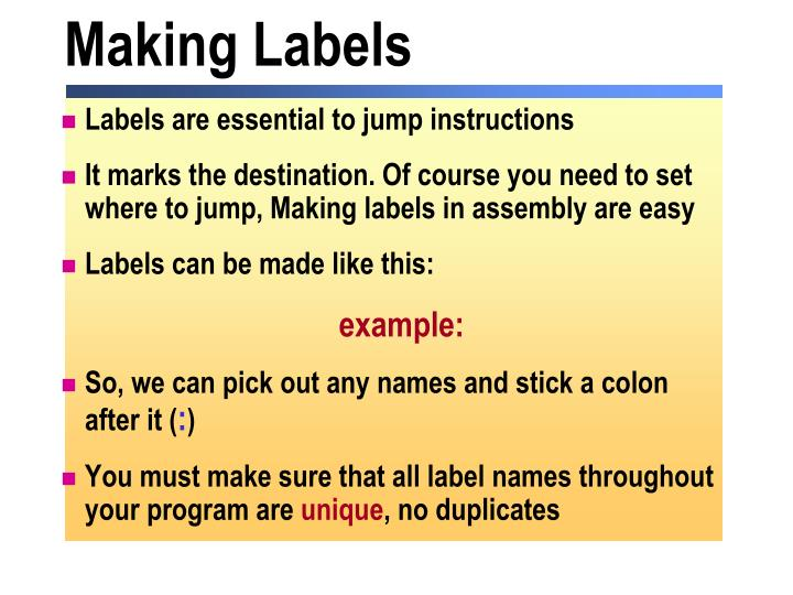 Making Labels