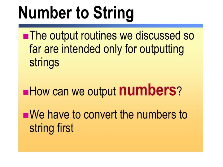 Number to String