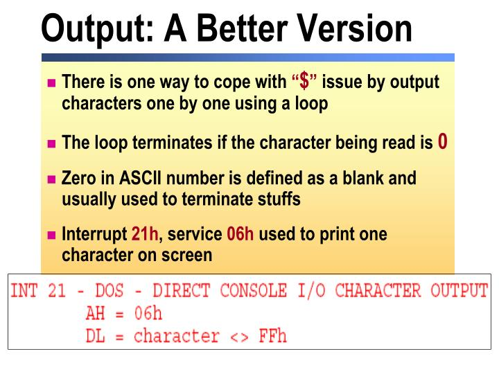 Output: A Better Version