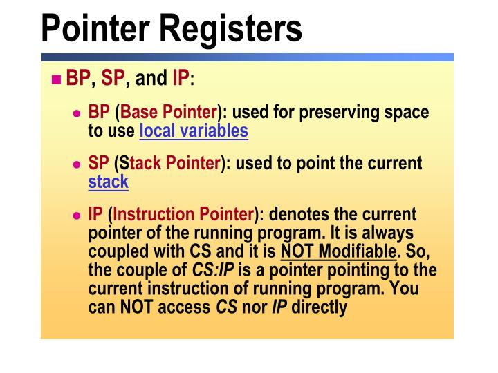 Pointer Registers