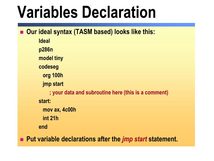 Variables Declaration