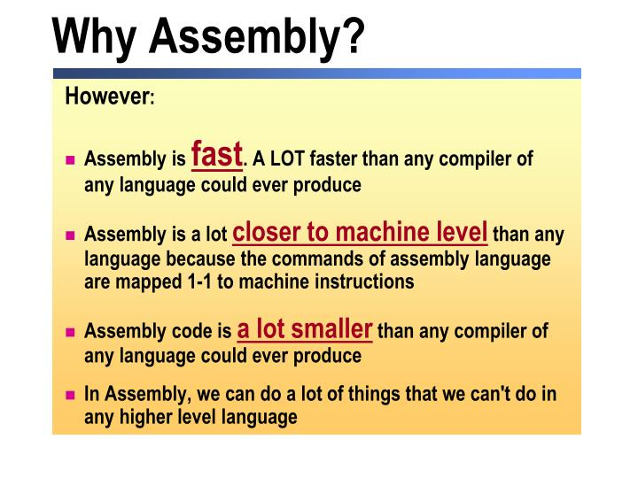 Why Assembly?