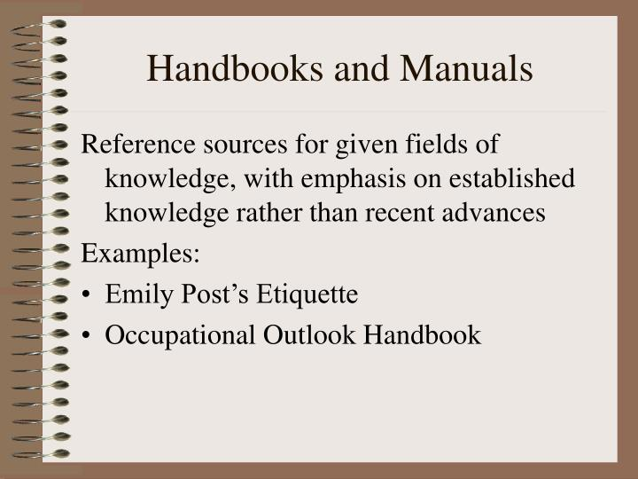 Handbooks and Manuals