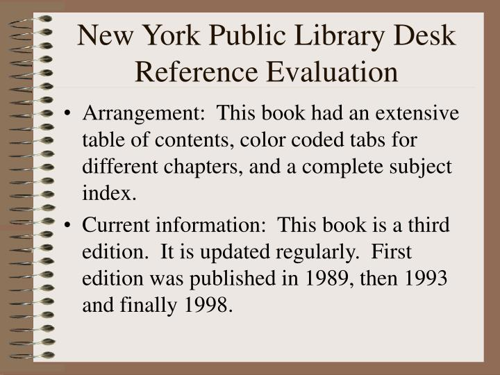 New York Public Library Desk Reference Evaluation