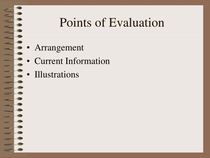 Points of Evaluation