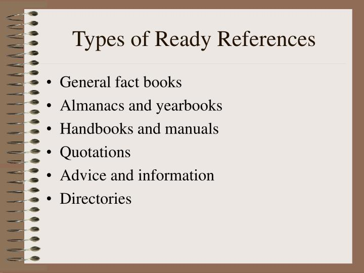 Types of ready references