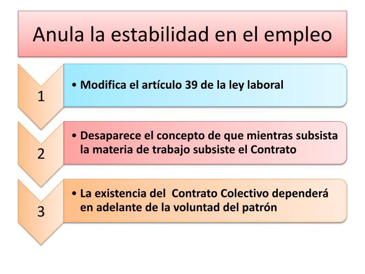 Anula la estabilidad en el empleo