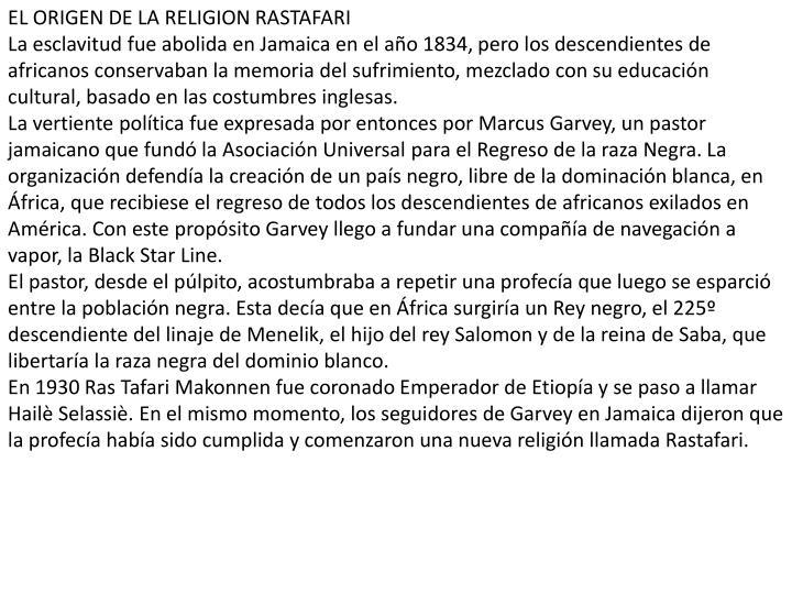 EL ORIGEN DE LA RELIGION RASTAFARI