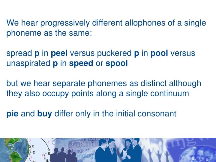 We hear progressively different allophones of a single phoneme as the same: