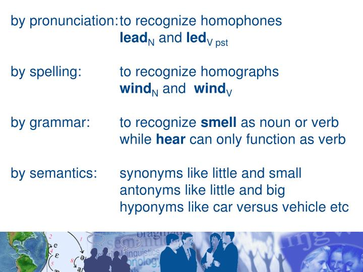 by pronunciation:	to recognize homophones