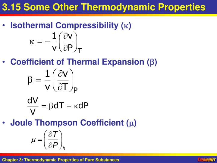 3.15 Some Other Thermodynamic Properties