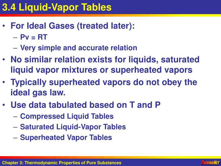 3.4 Liquid-Vapor Tables