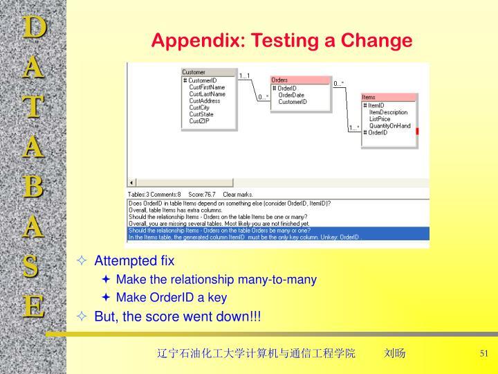 Appendix: Testing a Change