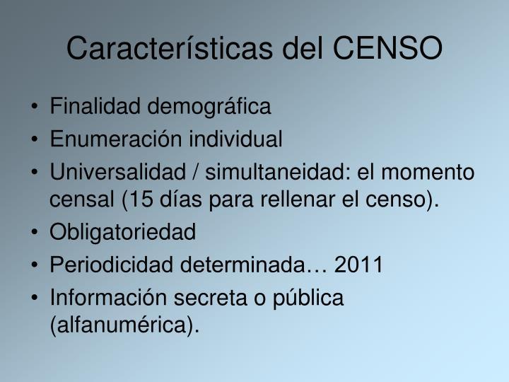 Características del CENSO