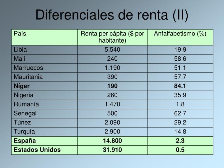 Diferenciales de renta (II)