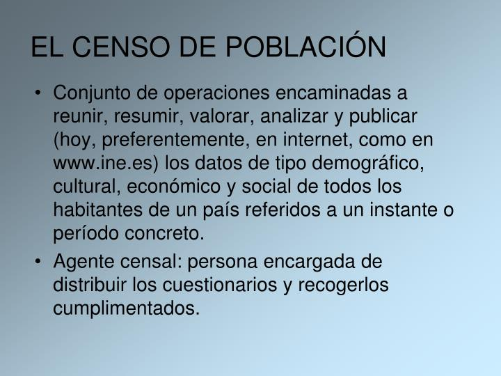 EL CENSO DE POBLACIÓN