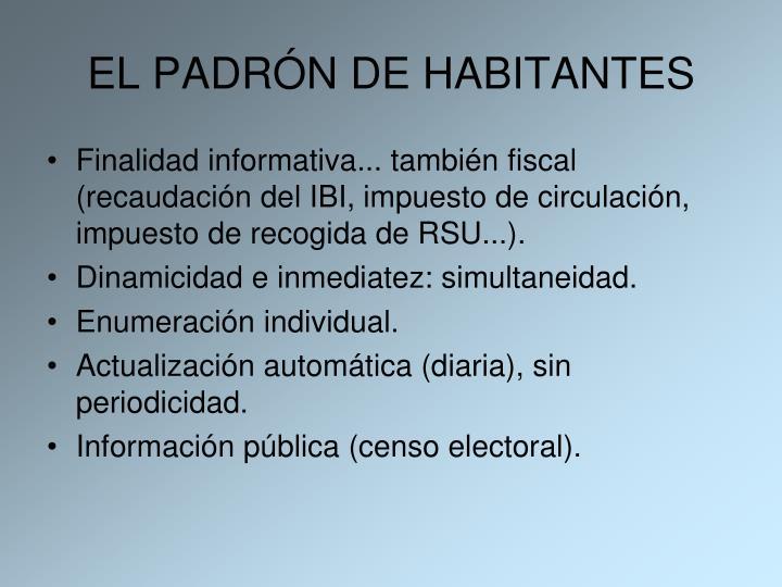EL PADRÓN DE HABITANTES
