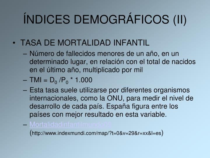 ÍNDICES DEMOGRÁFICOS (II)