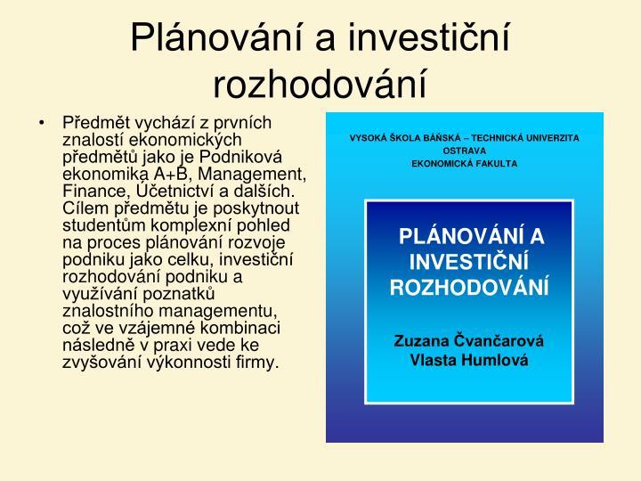 Plánování a investiční rozhodování