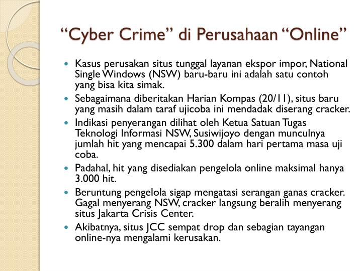 """""""Cyber Crime"""" di Perusahaan""""Online"""""""