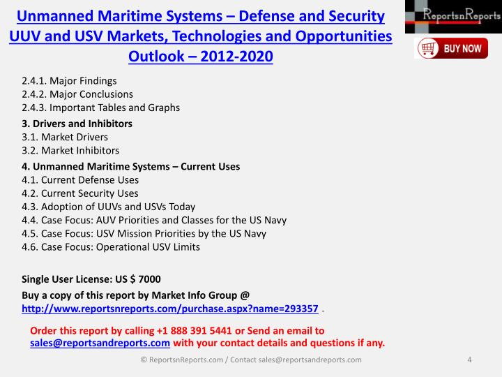 Unmanned Maritime Systems – Defense and Security UUV and USV Markets, Technologies and Opportunities Outlook – 2012-2020