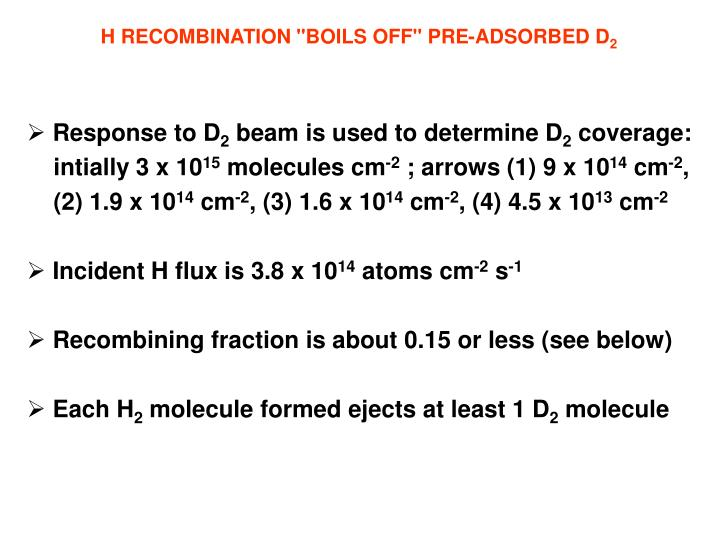 "H RECOMBINATION ""BOILS OFF"" PRE-ADSORBED D"