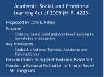 academic social and emotional learning act of 2009 h r 4223