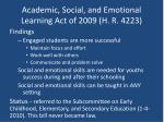 academic social and emotional learning act of 2009 h r 42231