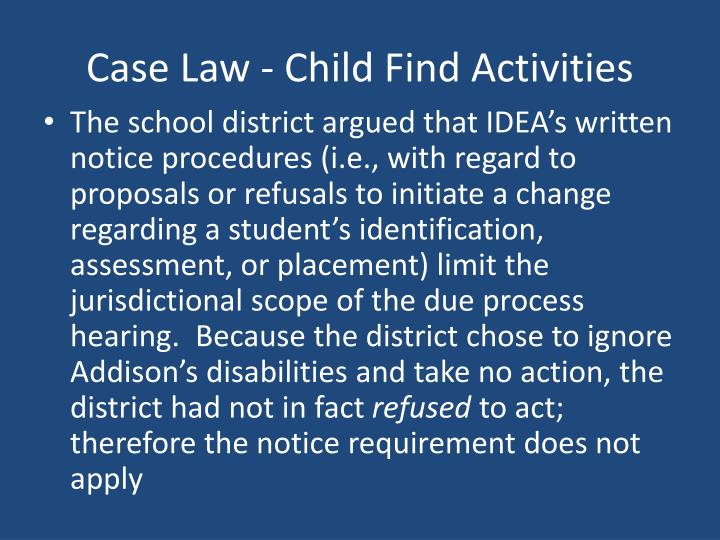 Case Law - Child Find Activities
