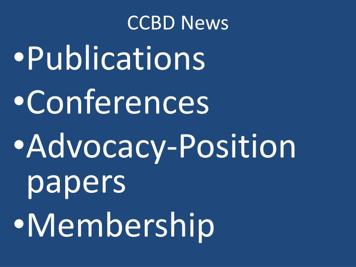 CCBD News