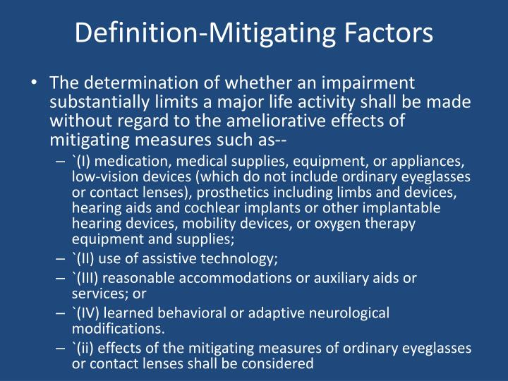 Definition-Mitigating Factors