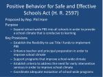positive behavior for safe and effective schools act h r 2597