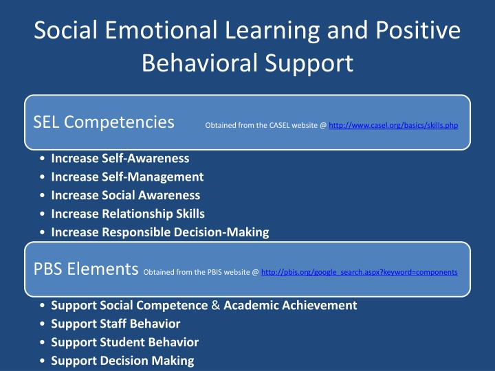 Social Emotional Learning and Positive Behavioral Support