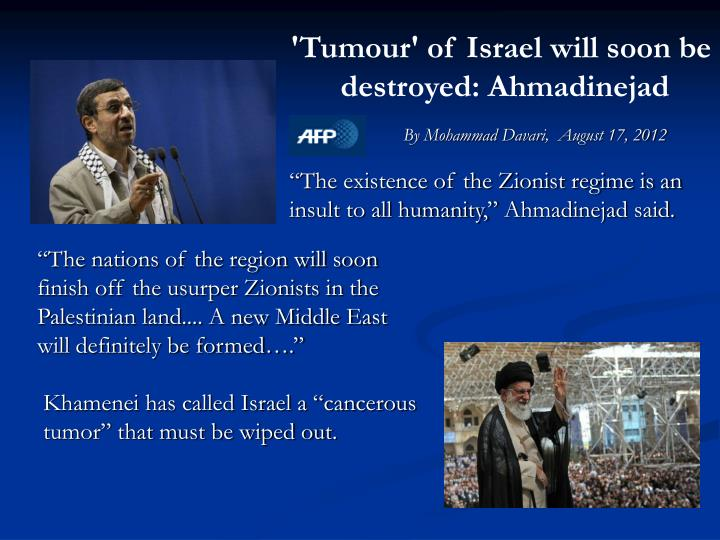 'Tumour' of Israel will soon be