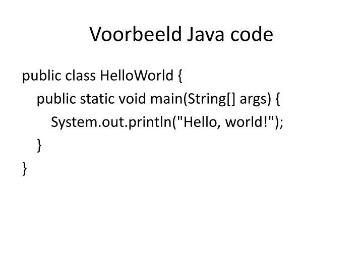Voorbeeld Java code