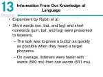 information from our knowledge of language