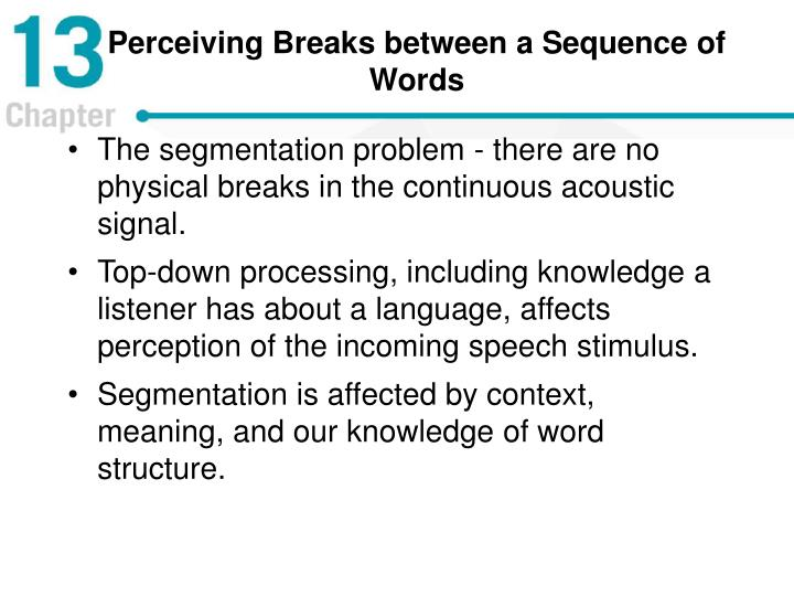 Perceiving Breaks between a Sequence of Words